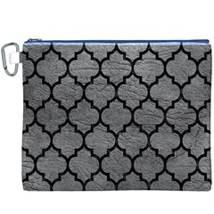 Tile1 Black Marble & Gray Leather (r) Canvas Cosmetic Bag (xxxl)