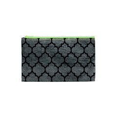 Tile1 Black Marble & Gray Leather (r) Cosmetic Bag (xs)