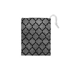 Tile1 Black Marble & Gray Leather (r) Drawstring Pouches (xs)