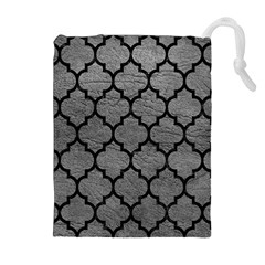 Tile1 Black Marble & Gray Leather (r) Drawstring Pouches (extra Large)