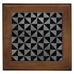 Triangle1 Black Marble & Gray Leather Framed Tiles