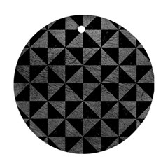 Triangle1 Black Marble & Gray Leather Ornament (round)