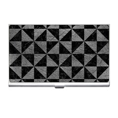 Triangle1 Black Marble & Gray Leather Business Card Holders