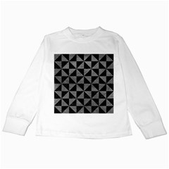 Triangle1 Black Marble & Gray Leather Kids Long Sleeve T Shirts