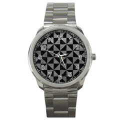 Triangle1 Black Marble & Gray Leather Sport Metal Watch