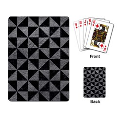 Triangle1 Black Marble & Gray Leather Playing Card