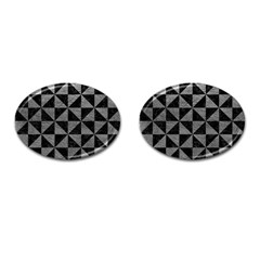 Triangle1 Black Marble & Gray Leather Cufflinks (oval)