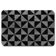 Triangle1 Black Marble & Gray Leather Large Doormat