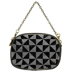 Triangle1 Black Marble & Gray Leather Chain Purses (one Side)