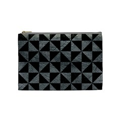 Triangle1 Black Marble & Gray Leather Cosmetic Bag (medium)