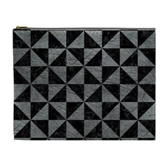 Triangle1 Black Marble & Gray Leather Cosmetic Bag (xl)