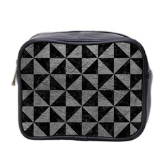 Triangle1 Black Marble & Gray Leather Mini Toiletries Bag 2 Side
