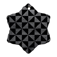 Triangle1 Black Marble & Gray Leather Ornament (snowflake)