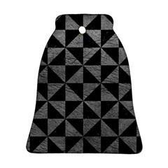 Triangle1 Black Marble & Gray Leather Bell Ornament (two Sides)