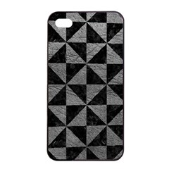 Triangle1 Black Marble & Gray Leather Apple Iphone 4/4s Seamless Case (black)