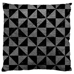 Triangle1 Black Marble & Gray Leather Large Cushion Case (one Side)