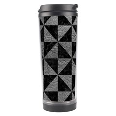 Triangle1 Black Marble & Gray Leather Travel Tumbler