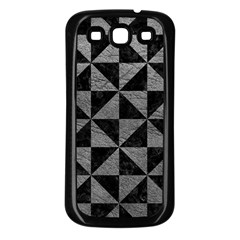 Triangle1 Black Marble & Gray Leather Samsung Galaxy S3 Back Case (black)