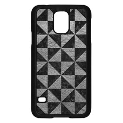 Triangle1 Black Marble & Gray Leather Samsung Galaxy S5 Case (black)