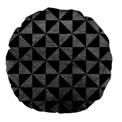 Triangle1 Black Marble & Gray Leather Large 18  Premium Flano Round Cushions