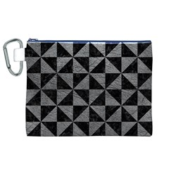 Triangle1 Black Marble & Gray Leather Canvas Cosmetic Bag (xl)