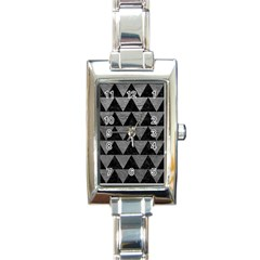 Triangle2 Black Marble & Gray Leather Rectangle Italian Charm Watch