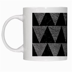 Triangle2 Black Marble & Gray Leather White Mugs