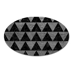 Triangle2 Black Marble & Gray Leather Oval Magnet