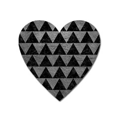 Triangle2 Black Marble & Gray Leather Heart Magnet