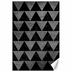 Triangle2 Black Marble & Gray Leather Canvas 20  X 30