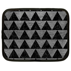 Triangle2 Black Marble & Gray Leather Netbook Case (large)