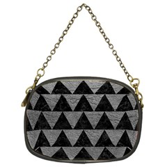 Triangle2 Black Marble & Gray Leather Chain Purses (two Sides)