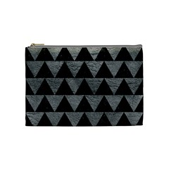 Triangle2 Black Marble & Gray Leather Cosmetic Bag (medium)