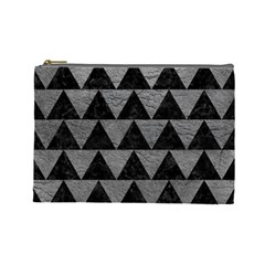 Triangle2 Black Marble & Gray Leather Cosmetic Bag (large)
