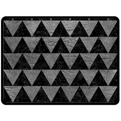 Triangle2 Black Marble & Gray Leather Fleece Blanket (large)