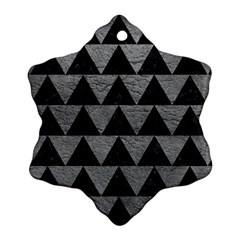 Triangle2 Black Marble & Gray Leather Snowflake Ornament (two Sides)