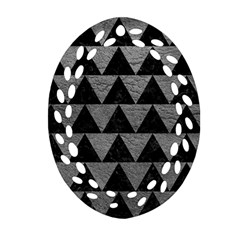 Triangle2 Black Marble & Gray Leather Oval Filigree Ornament (two Sides)
