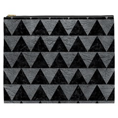 Triangle2 Black Marble & Gray Leather Cosmetic Bag (xxxl)