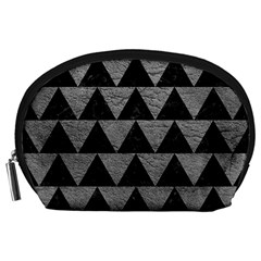 Triangle2 Black Marble & Gray Leather Accessory Pouches (large)