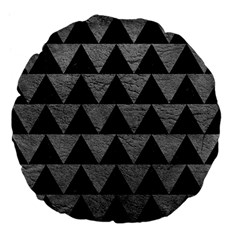 Triangle2 Black Marble & Gray Leather Large 18  Premium Flano Round Cushions