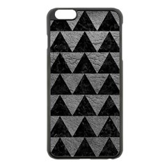 Triangle2 Black Marble & Gray Leather Apple Iphone 6 Plus/6s Plus Black Enamel Case