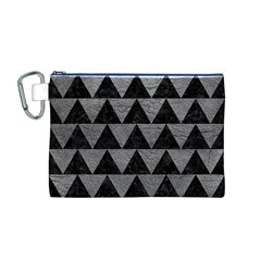 Triangle2 Black Marble & Gray Leather Canvas Cosmetic Bag (m)
