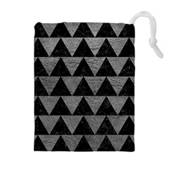 Triangle2 Black Marble & Gray Leather Drawstring Pouches (extra Large)