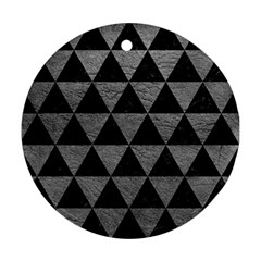 Triangle3 Black Marble & Gray Leather Ornament (round)