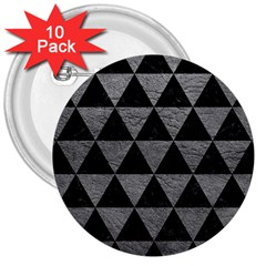 Triangle3 Black Marble & Gray Leather 3  Buttons (10 Pack)