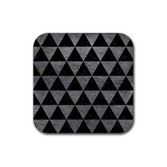 Triangle3 Black Marble & Gray Leather Rubber Coaster (square)