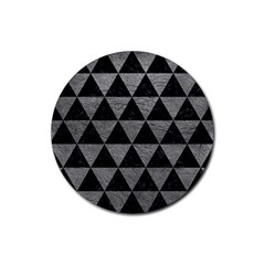 Triangle3 Black Marble & Gray Leather Rubber Round Coaster (4 Pack)