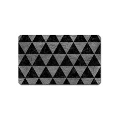 Triangle3 Black Marble & Gray Leather Magnet (name Card)
