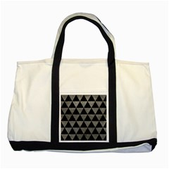 Triangle3 Black Marble & Gray Leather Two Tone Tote Bag