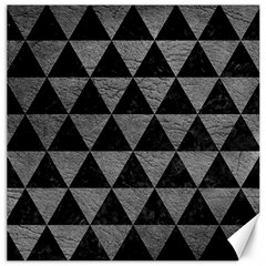 Triangle3 Black Marble & Gray Leather Canvas 20  X 20